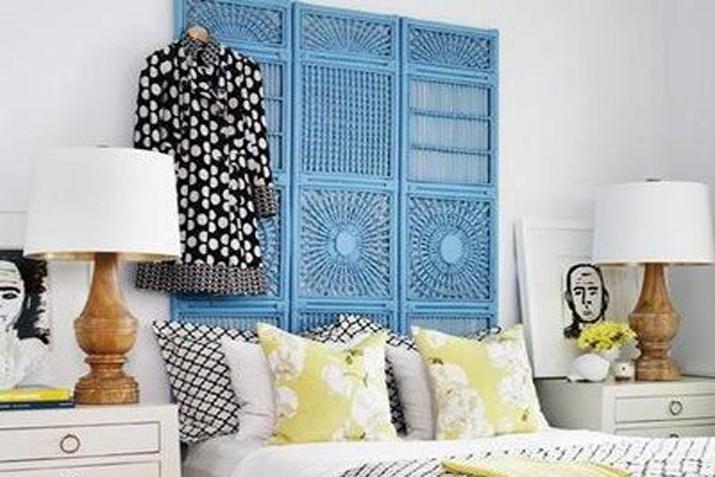 Decoracin cabeceros cama cabecero de cojines bicolor with - Cabezales de forja modernos ...