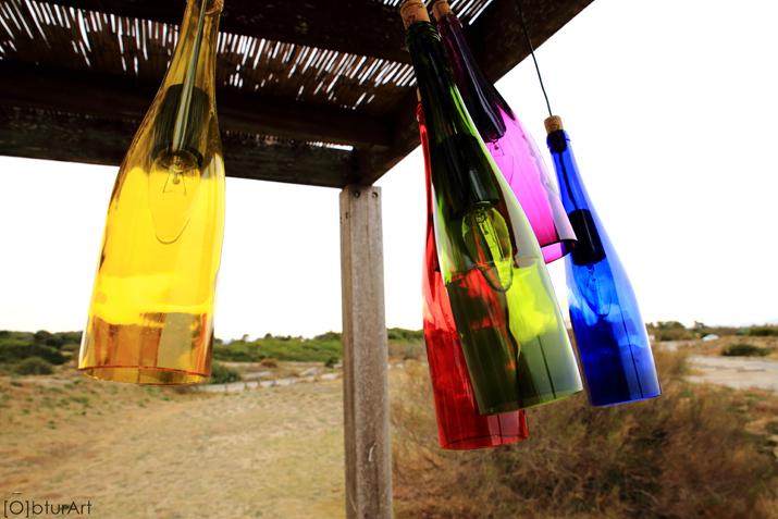 L mparas hechas con botellas de vidrio y tarros de cristal - Lamparas hechas con botellas ...
