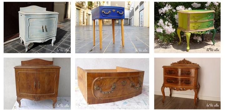 Reciclaje de muebles el antes y despu s de las mesitas de for Mesitas noche originales