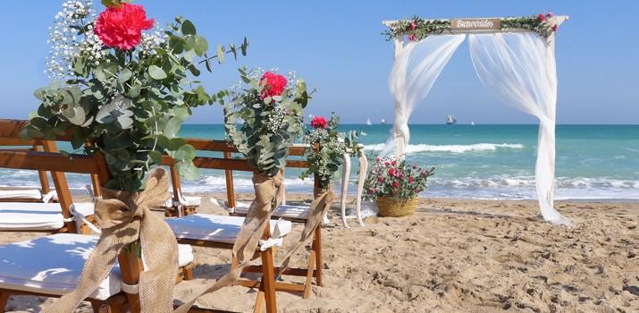 decoraciÓn de bodas romÁnticas en la playa de valencia | las tres sillas